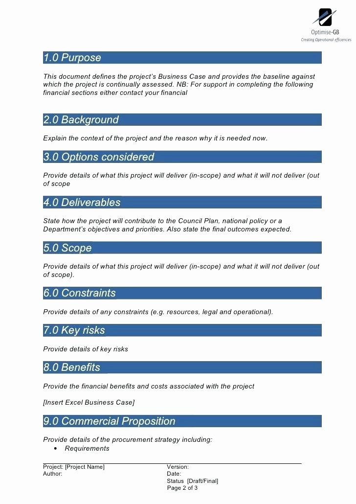 Business Case Template Excel Beautiful Example Project Scope Best Sample Business Case