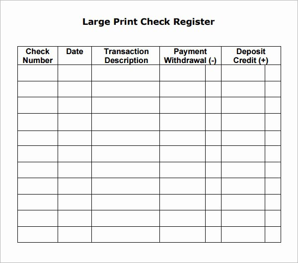 Business Check Register Template New 10 Sample Check Register Templates to Download