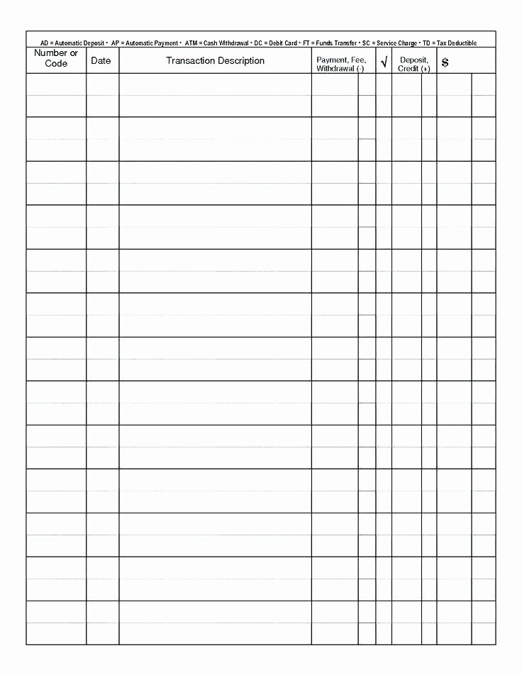 Business Check Register Template New Free Printable Blank Check Register Template Sample