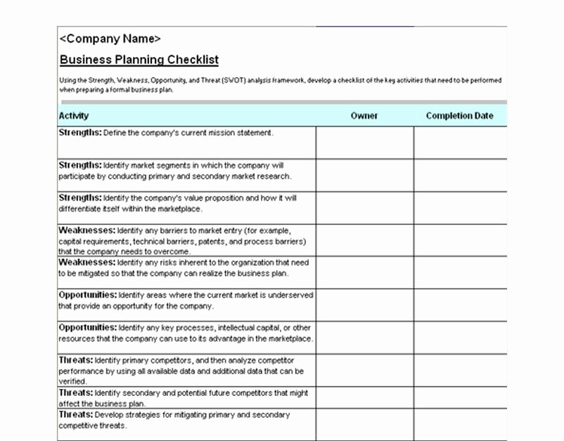 Business Check Template Excel Beautiful Business Plan Checklist