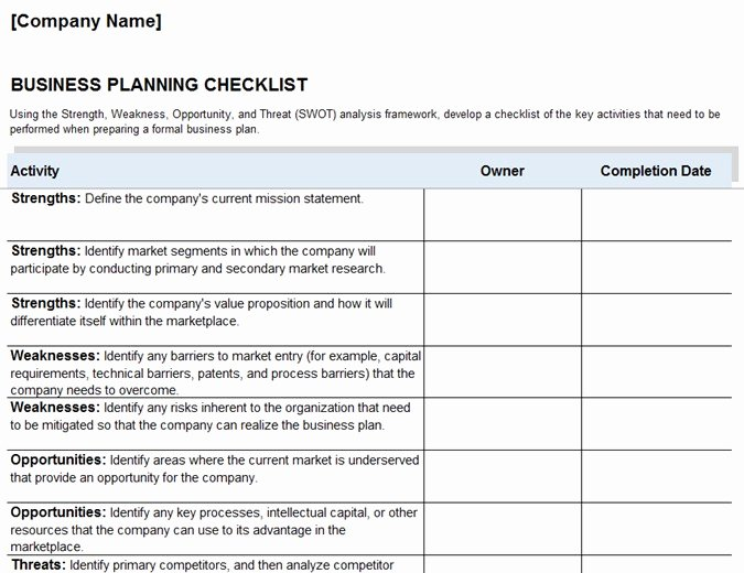 Business Check Template Excel Best Of Business Plan Checklist