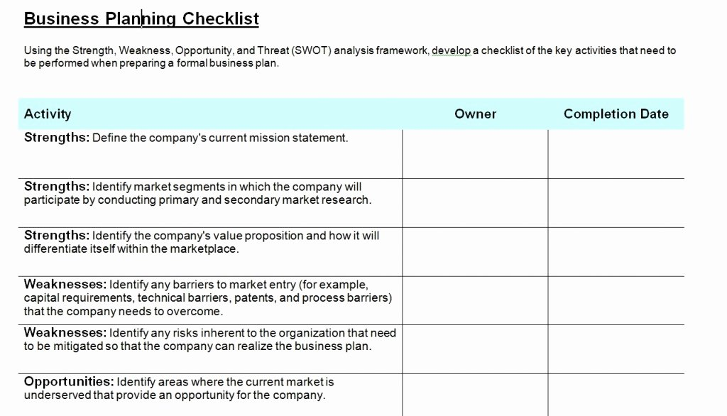 Business Check Template Word Inspirational Business Planning Checklist Template