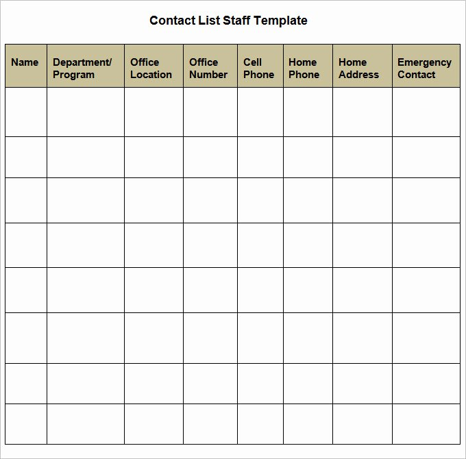 Business Contact List Template Inspirational Contact List Template 4 Free Word Pdf Documents