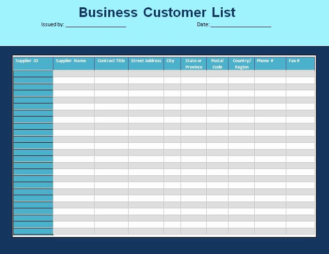 Business Contact List Template Inspirational Customer List Template