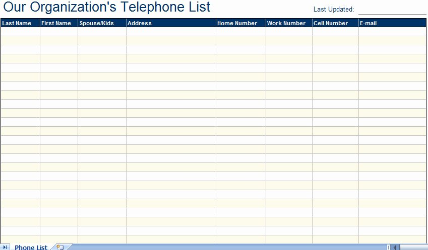 Business Contact List Template Inspirational Excellent Employee Telephone Email Directory List Template