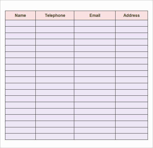 Business Contact List Template New Contact List Template 14 Download Free Documents In Pdf