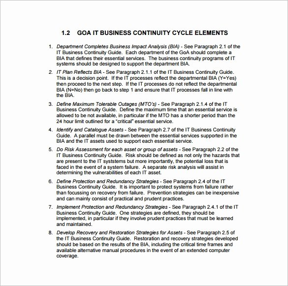 Business Contingency Plan Template Beautiful Business Continuity Plan Template 11 Download Free Word