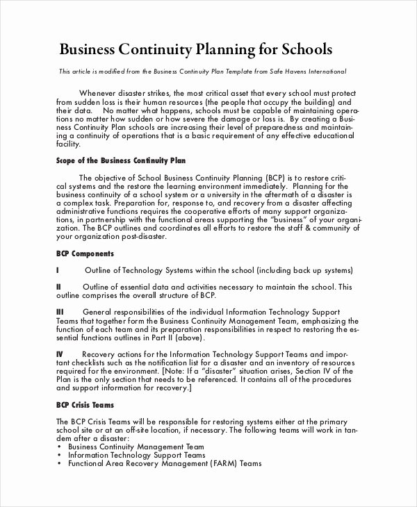Business Contingency Plan Template Luxury Business Continuity Plan 9 Free Pdf Word Download