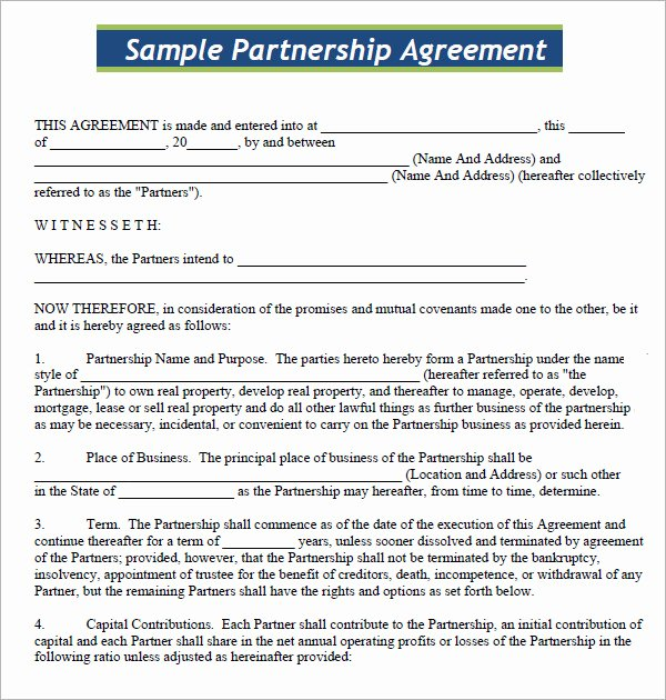 Business Contract Template Free Elegant Business Partnership Agreement 9 Download Documents In