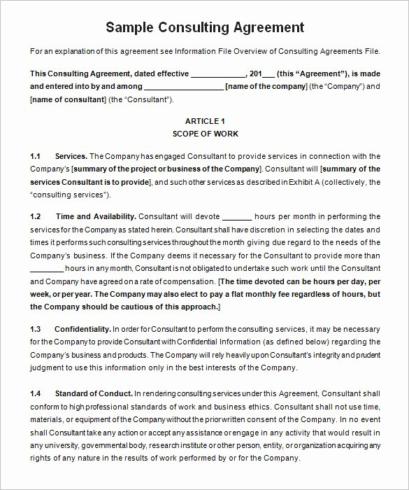 Business Contract Template Free Fresh 10 Consulting Contract Templates Pdf Doc