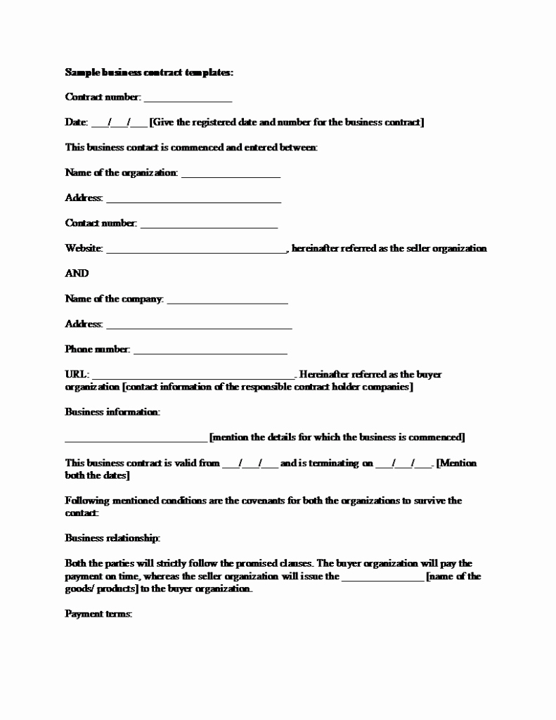 Business Contract Template Free Fresh Sample Business Contract Template