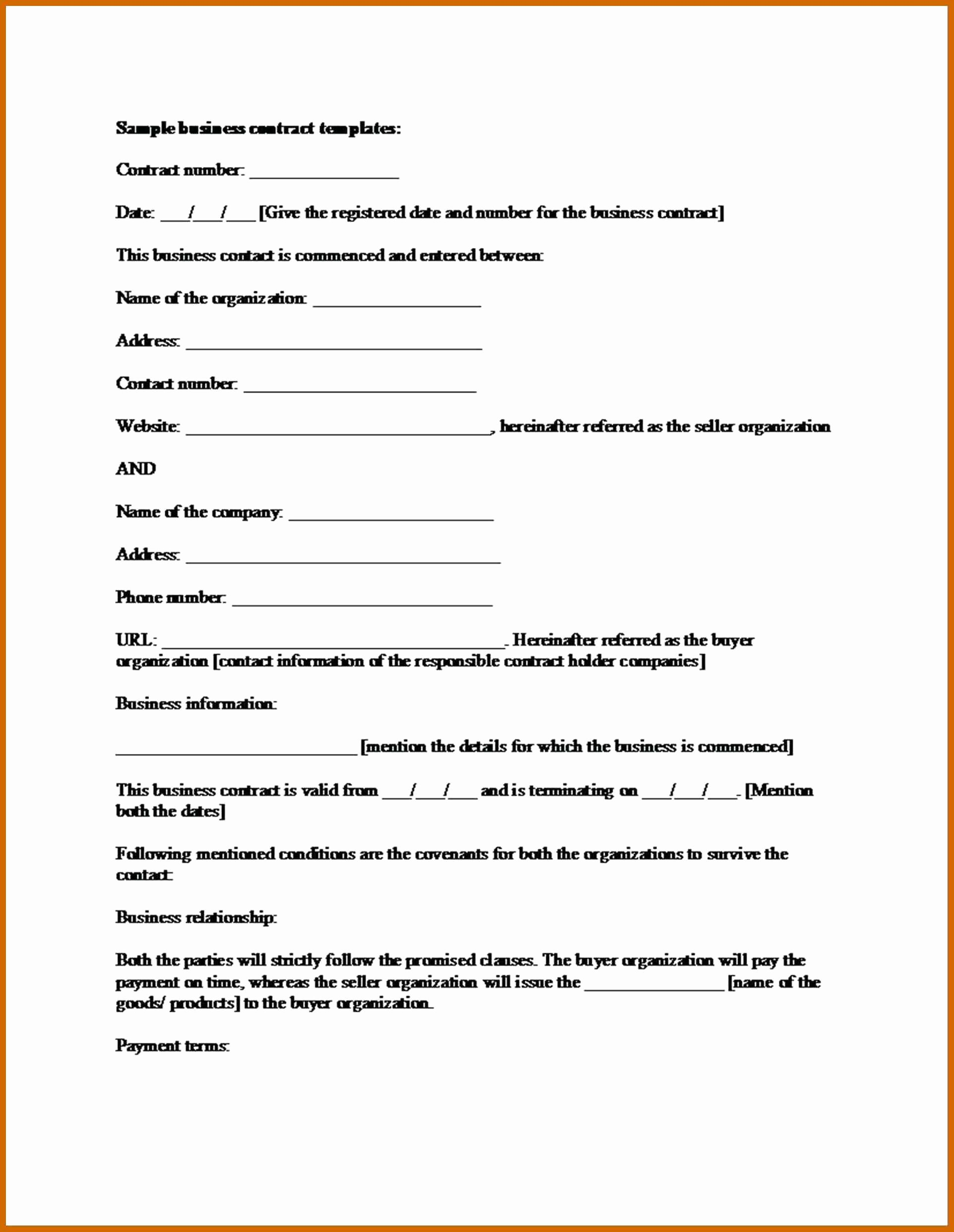 Business Contract Template Free Luxury 6 7 Blank Contract Template