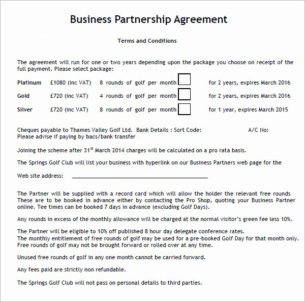 Business Contract Template Free Unique 11 Sample Business Partnership Agreement Templates to