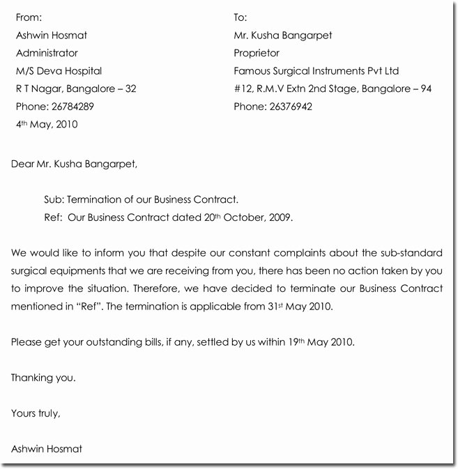 Business Contract Termination Letter Template Awesome 28 Samples Of Termination Letter Templates & formats