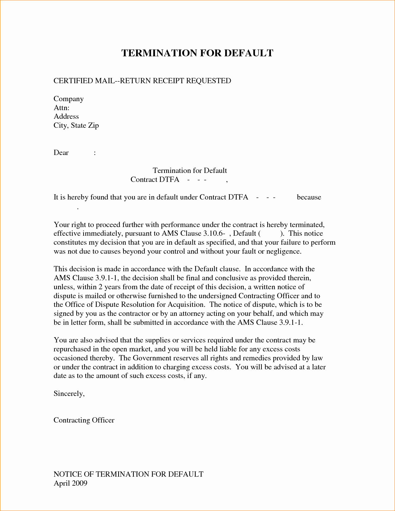 Business Contract Termination Letter Template Awesome 6 Contract Termination Letter Template