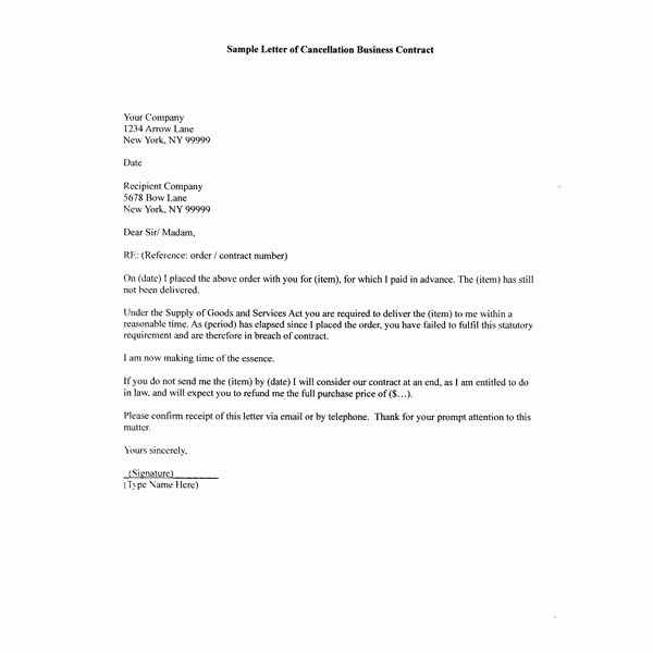 Business Contract Termination Letter Template Awesome How to Write A Sample Letter Of Cancellation Business Contract