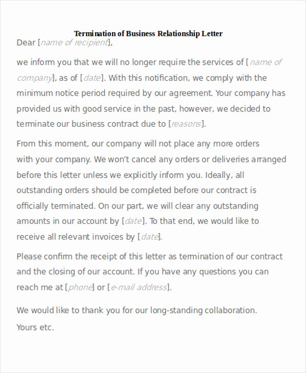 Business Contract Termination Letter Template Beautiful 7 Sample Termination Of Business Letters Pdf Word