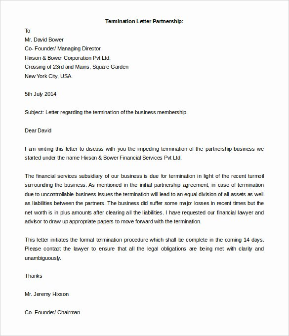 Business Contract Termination Letter Template Best Of 5 Partnership Termination Letter Free Word Pdf