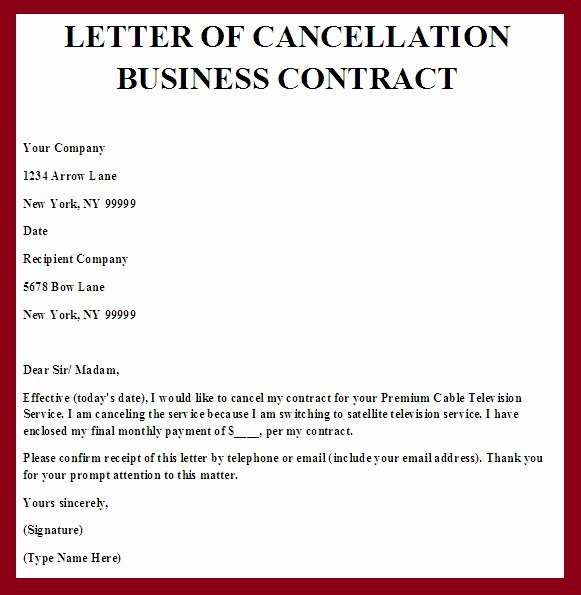 Business Contract Termination Letter Template Inspirational Contract Termination Letter