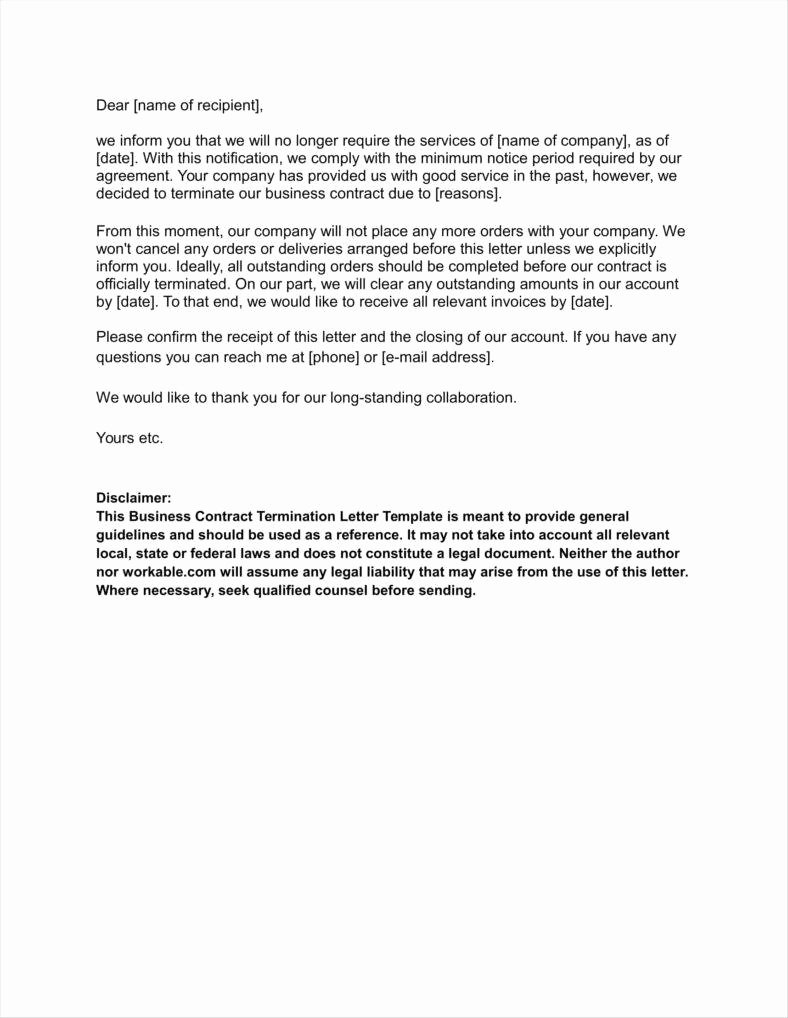 Business Contract Termination Letter Template Lovely 20 Agreement Termination Letters Free Word Pdf Excel