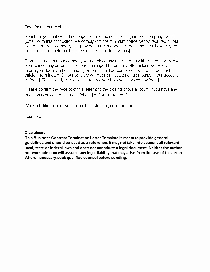 Business Contract Termination Letter Template Lovely Free Business Contract Termination Letter Sample