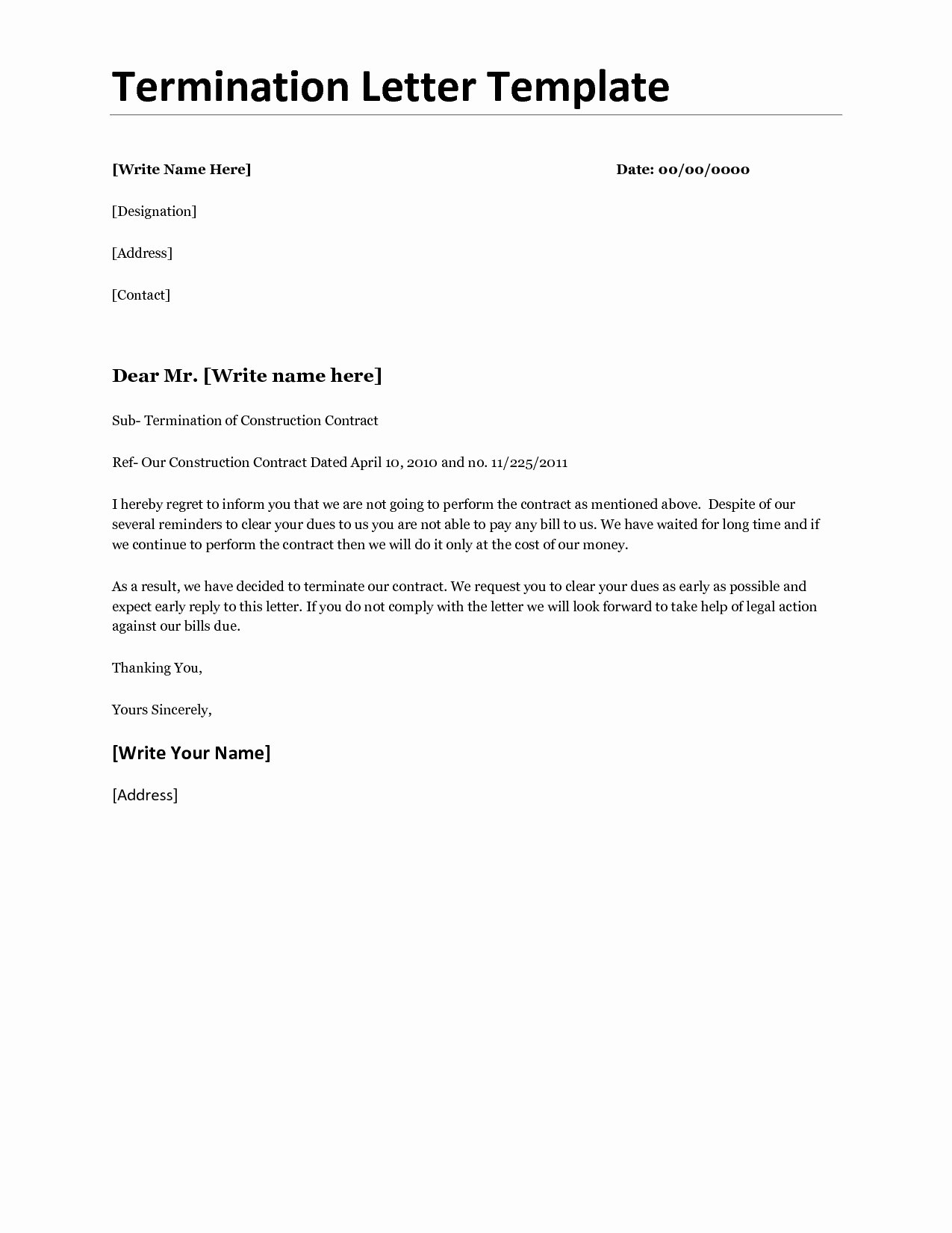 Business Contract Termination Letter Template Luxury Business Termination Letter Template Samples for Your