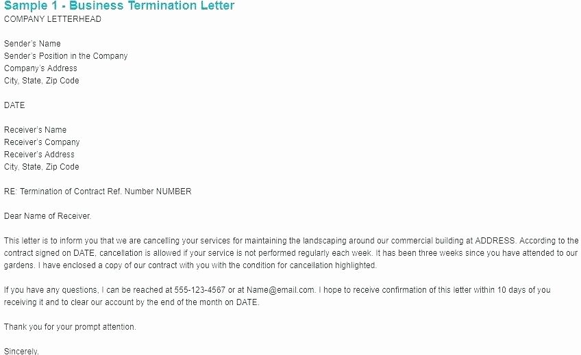 Business Contract Termination Letter Template New Employee Termination Notice Sample Contract Letter Work