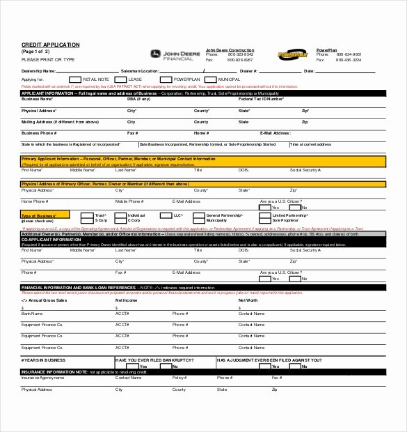 Business Credit Application Template Awesome 15 Credit Application Templates Free Sample Example