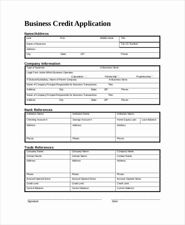 Business Credit Application Template Best Of 9 Sample Credit Application forms