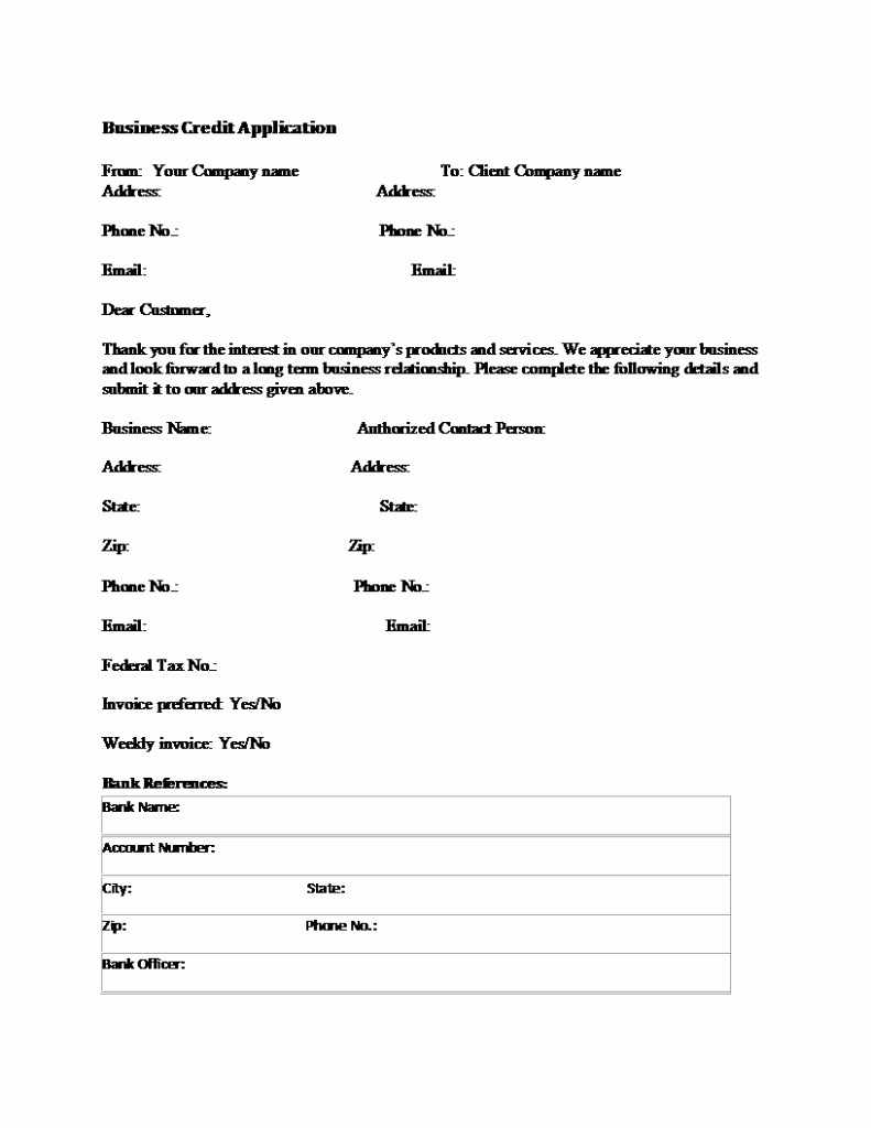 Business Credit Application Template Luxury Business Credit Application form Template