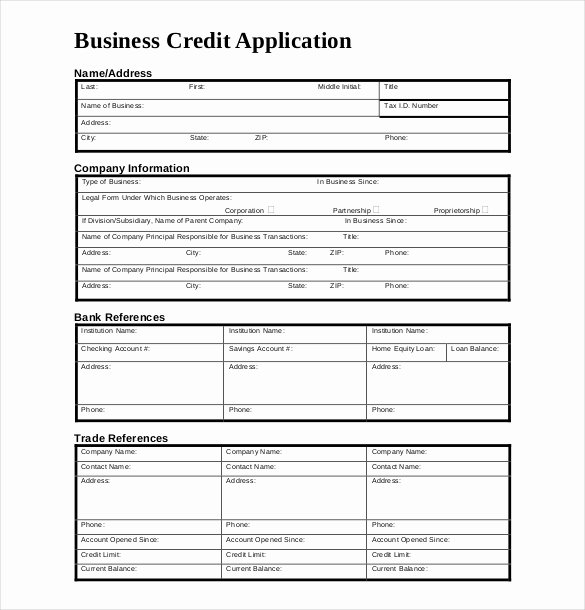 Business Credit Application Template Luxury Credit Application Template – 13 Free Word Pdf Documents