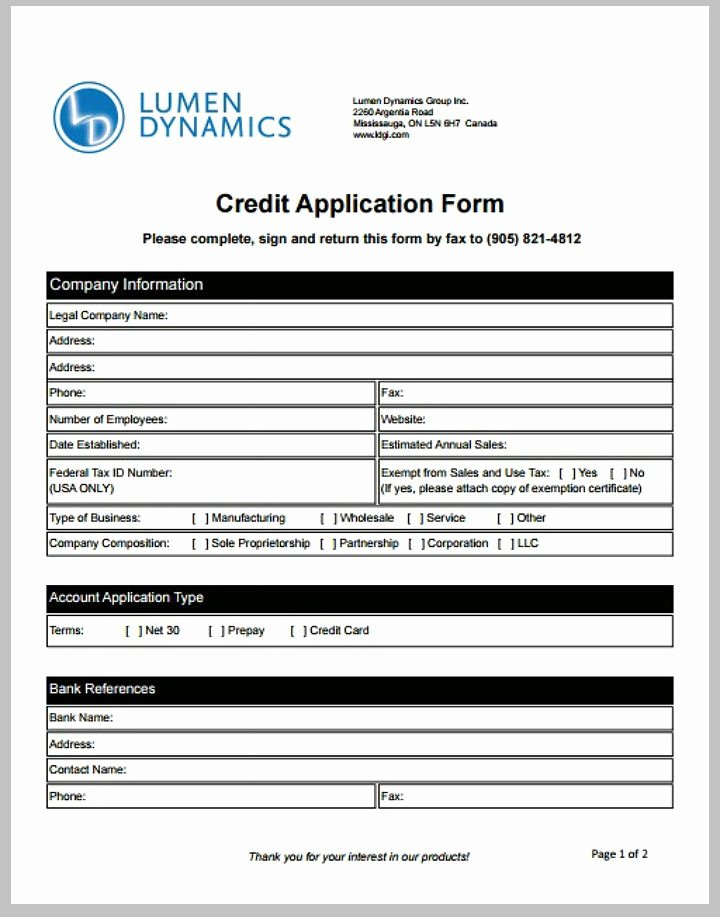 Business Credit Application Template New 8 Credit Application form Templates Pdf