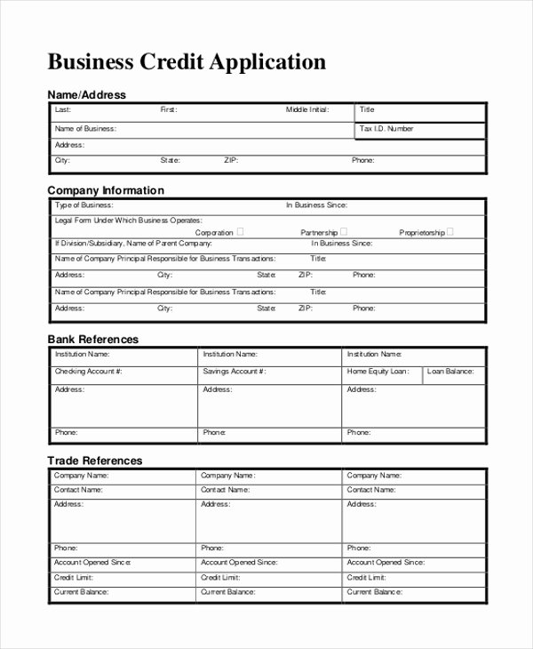 Business Credit Application Template Unique Credit Application Sample