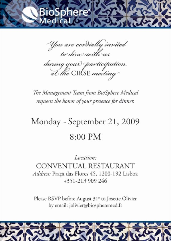 Business Dinner Invitation Template Best Of 52 Meeting Invitation Designs
