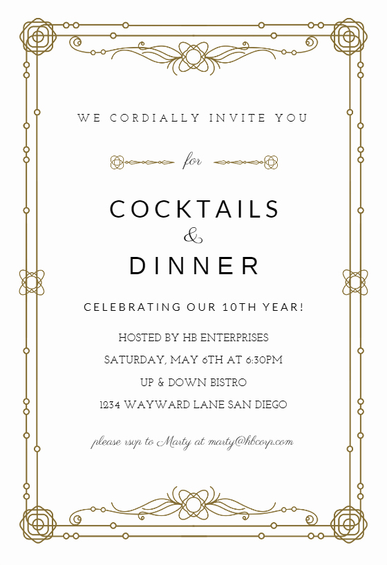 Business Dinner Invitation Template Fresh Classic Border Free Business event Invitation Template