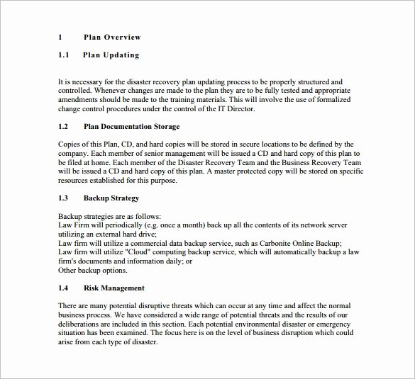 Business Disaster Recovery Plan Template Fresh 13 Disaster Recovery Plan Templates – Free Sample