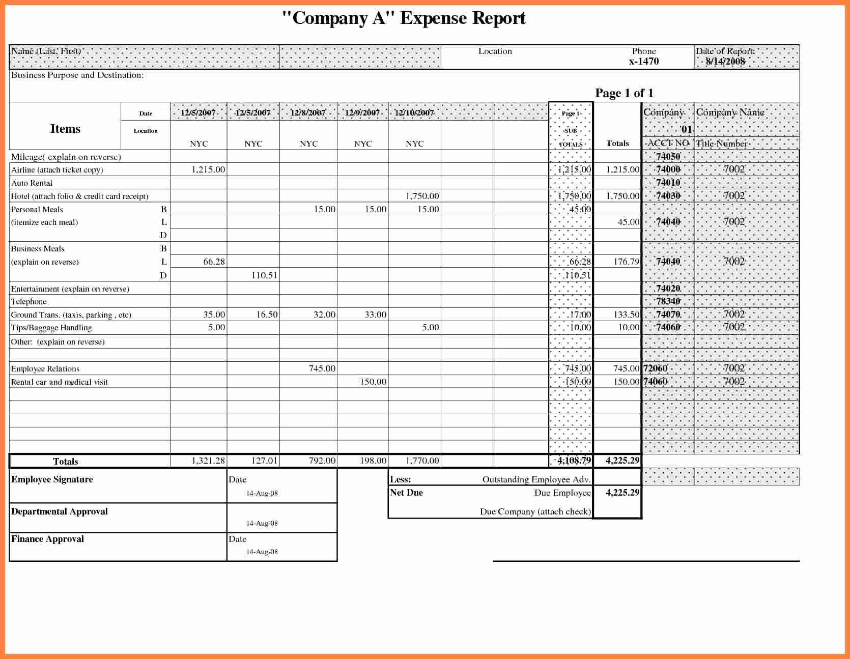 Business Expense Report Template Fresh 8 Business Travel Expense Report Template