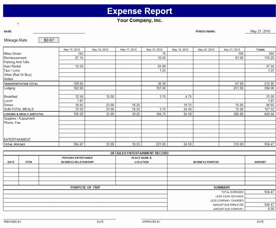 Business Expense Report Template Unique Monthly Expense Report Template