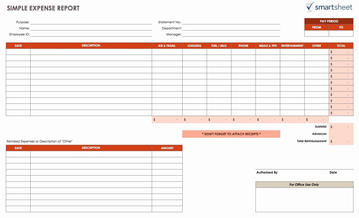 Business Expense Tracker Template Luxury Free Expense Report Templates Smartsheet