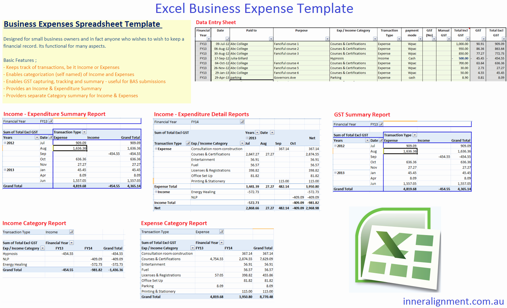 Business Expenses Excel Template Inspirational Excel – Free Business Expense Template – Inner Alignment