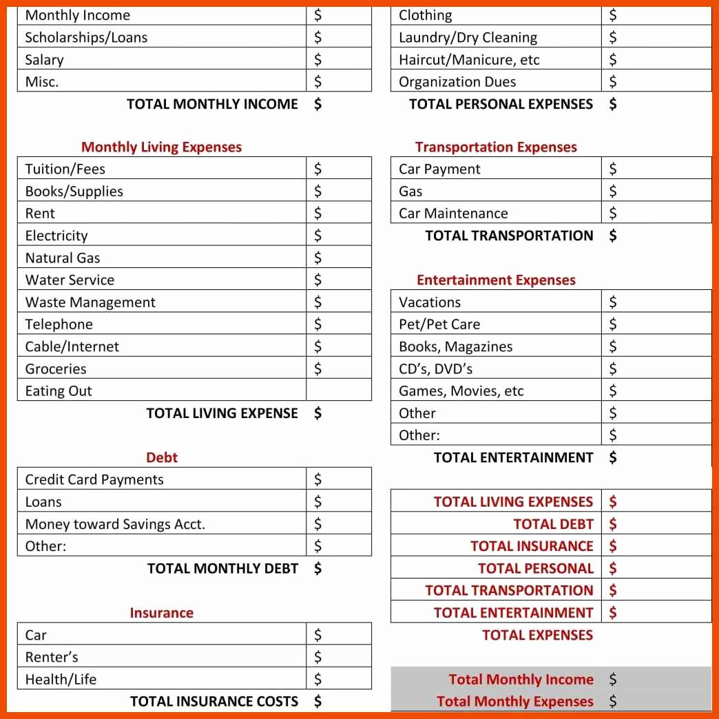 Business Expenses List Template Inspirational 10 11 Monthly Expenses List