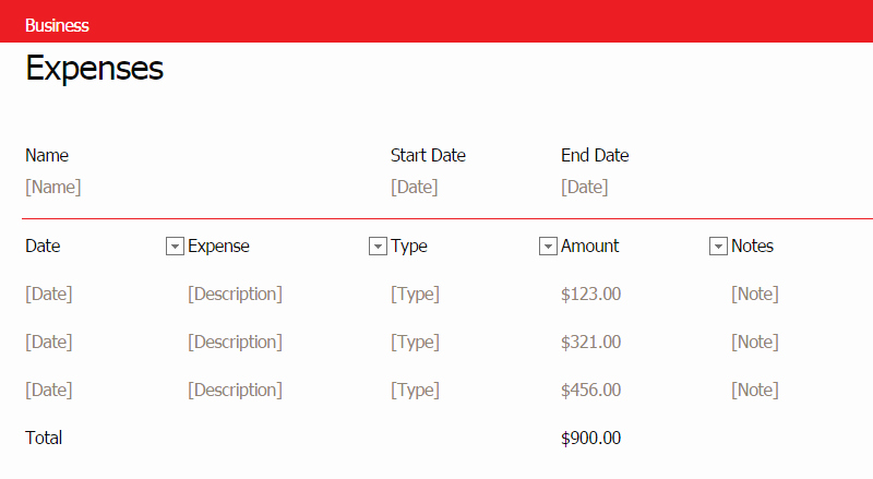 Business Expenses List Template New Simple Business Expense Template