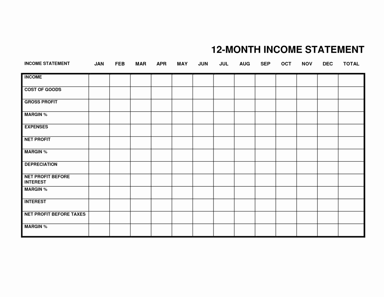 Business Income Statement Template Awesome Monthly In E Statement Monthly Spreadsheet In E