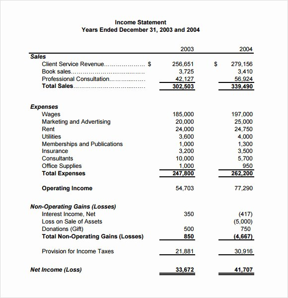 Business Income Statement Template Beautiful In E Statement – 9 Free Samples Examples & format