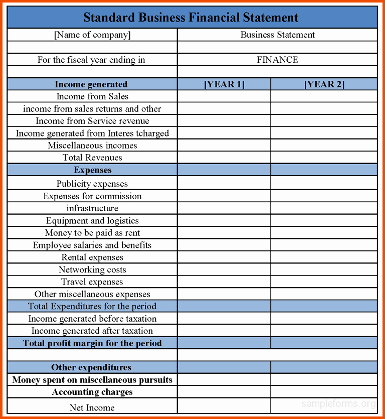 Business Income Statement Template Elegant Financial Statements Templates In E Statement Template