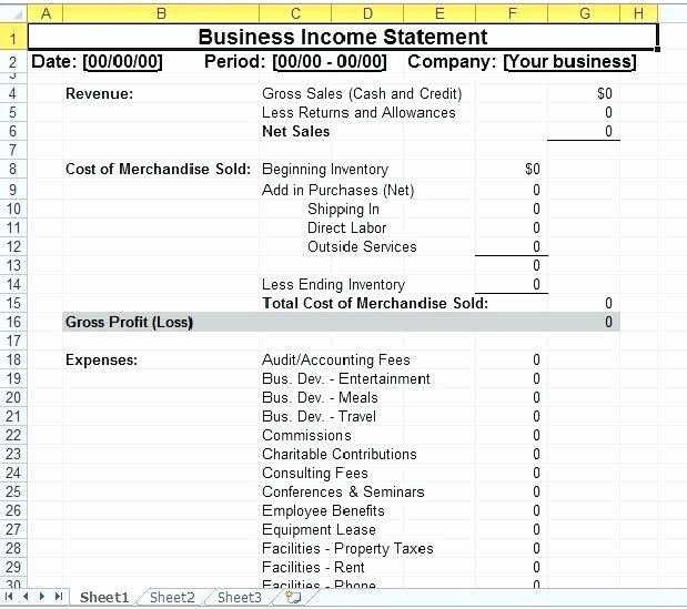 Business Income Statement Template New Small Business In E Statement Template