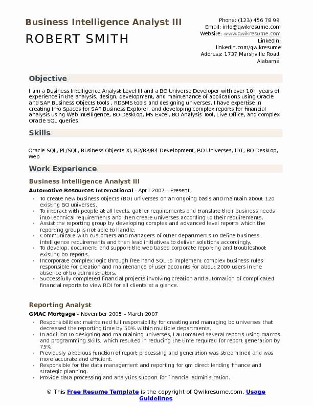 Business Intelligence Report Requirements Template Beautiful Business Intelligence Analyst Resume Samples