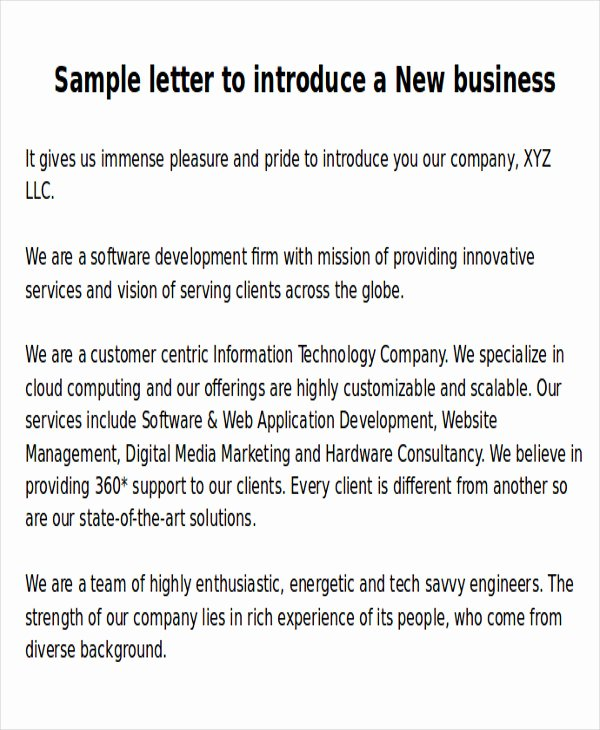 Business Introduction Email Template Elegant Sample New Business Letters 6 Examples In Word Pdf