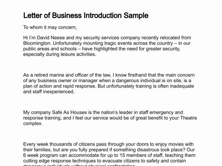 Business Introduction Letter Template Elegant Letter Of Business Introduction