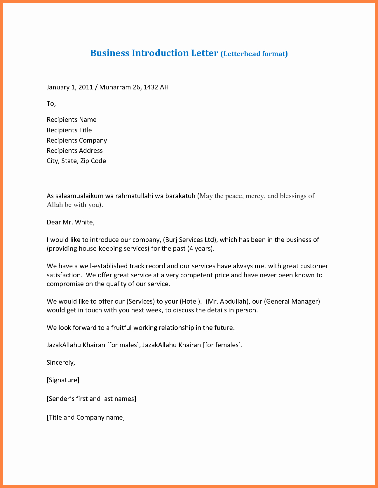 Business Introduction Letter Template Fresh 7 Sample Pany Introduction Letter for Business